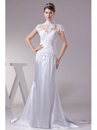 Long Halter Lace Cap Sleeves Sleek Satin Mermaid Wedding Dress