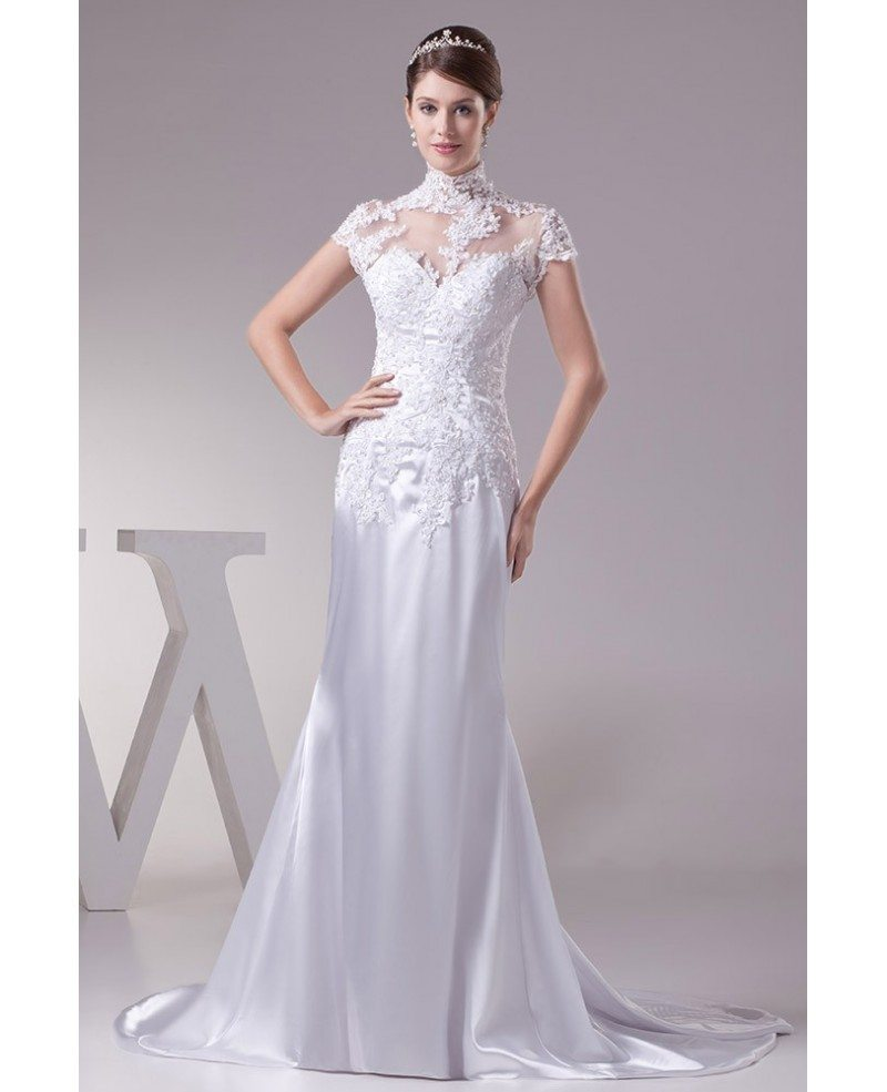 Long halter lace cap sleeves sleek satin mermaid wedding for Mermaid halter wedding dresses