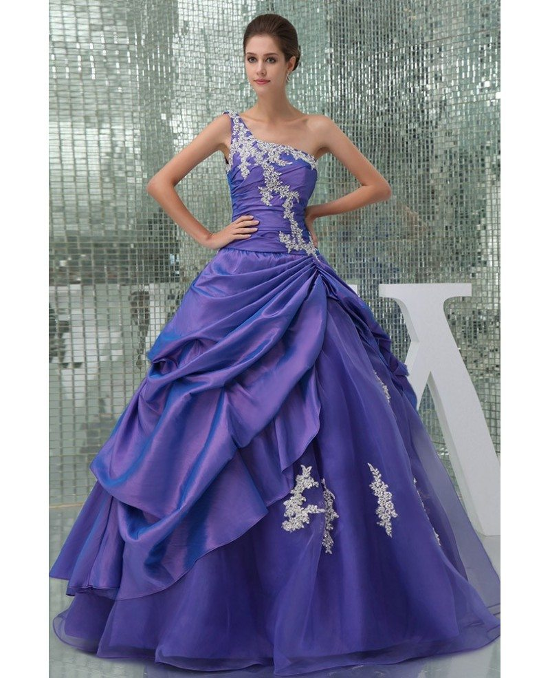 Beautiful lace one shoulder purple taffeta color wedding for Purple lace wedding dress