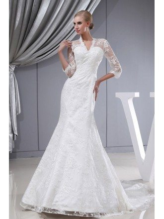 3/4 Lace Sleeves Fitted Mermaid Long Wedding Dress Corset Back