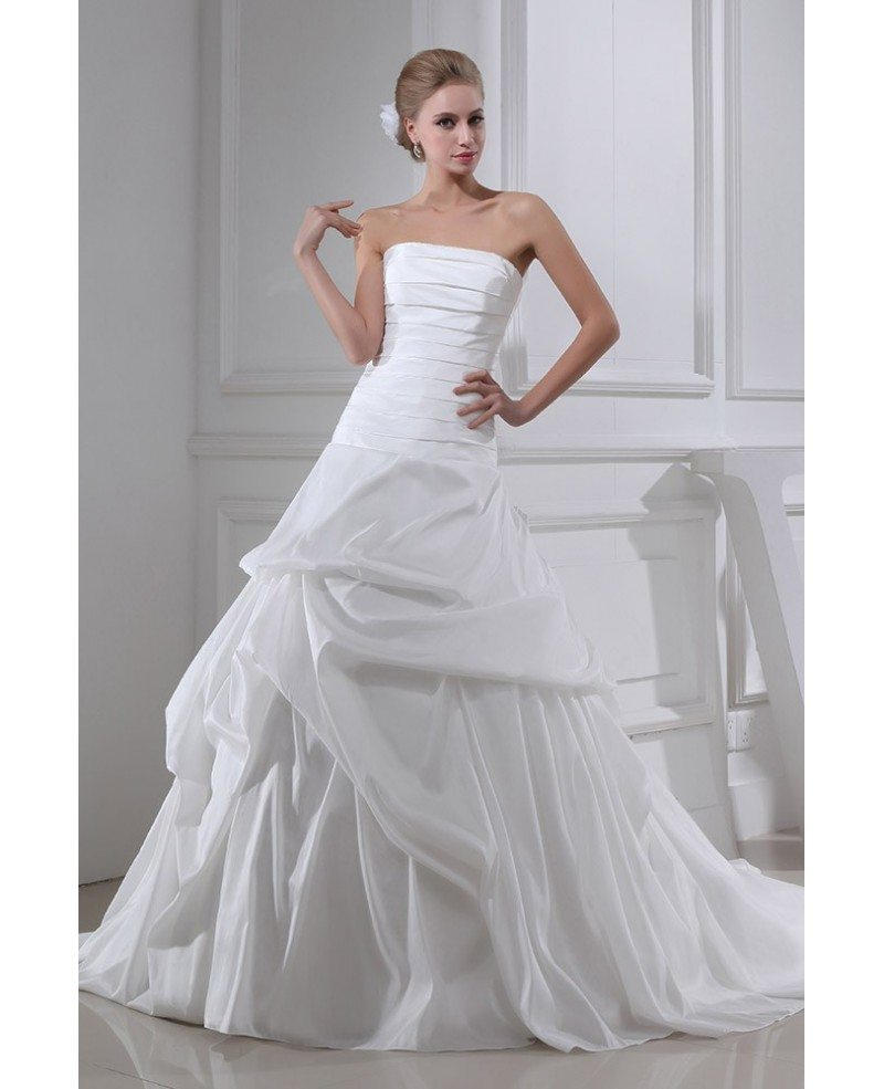Strapless pleated taffeta wedding dress ruffled oph1315 for Strapless taffeta wedding dress