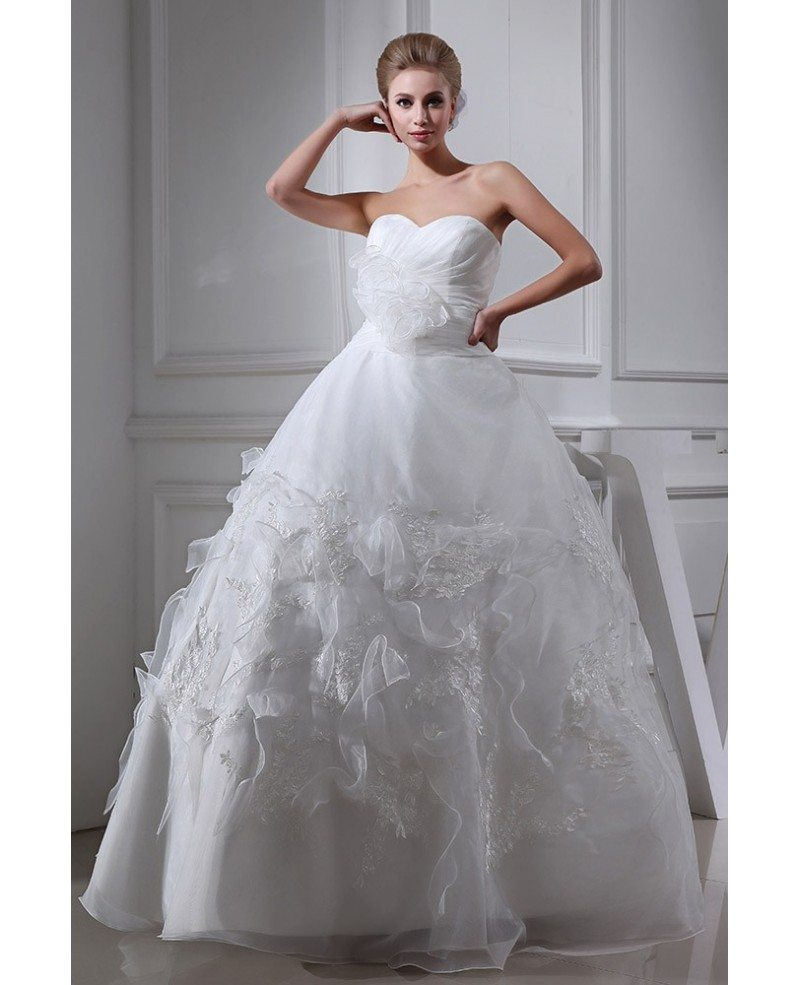 Sweetheart Ballgown Organza Handmade Flower Wedding Dress #OPH1316 ...