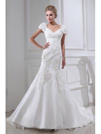 Pretty Lace Flowers Bubble Sleeves Mermaid Wedding Dress
