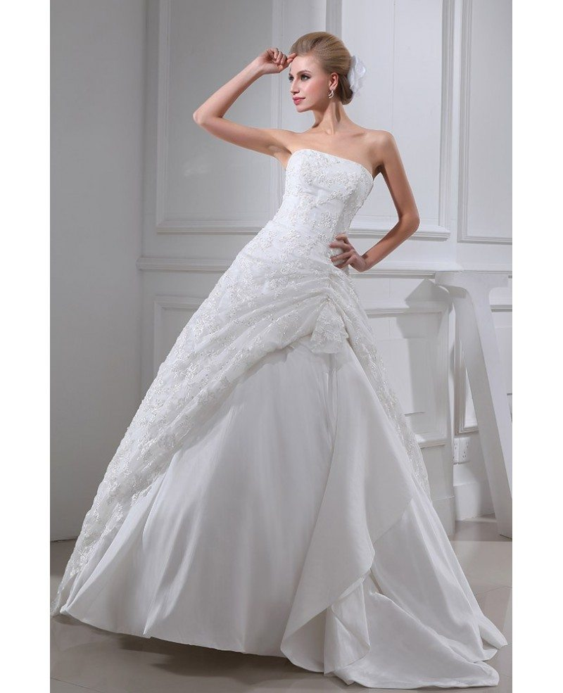 Sequined Lace Strapless Wedding Gown Ballgown #OPH1321 $269 ...