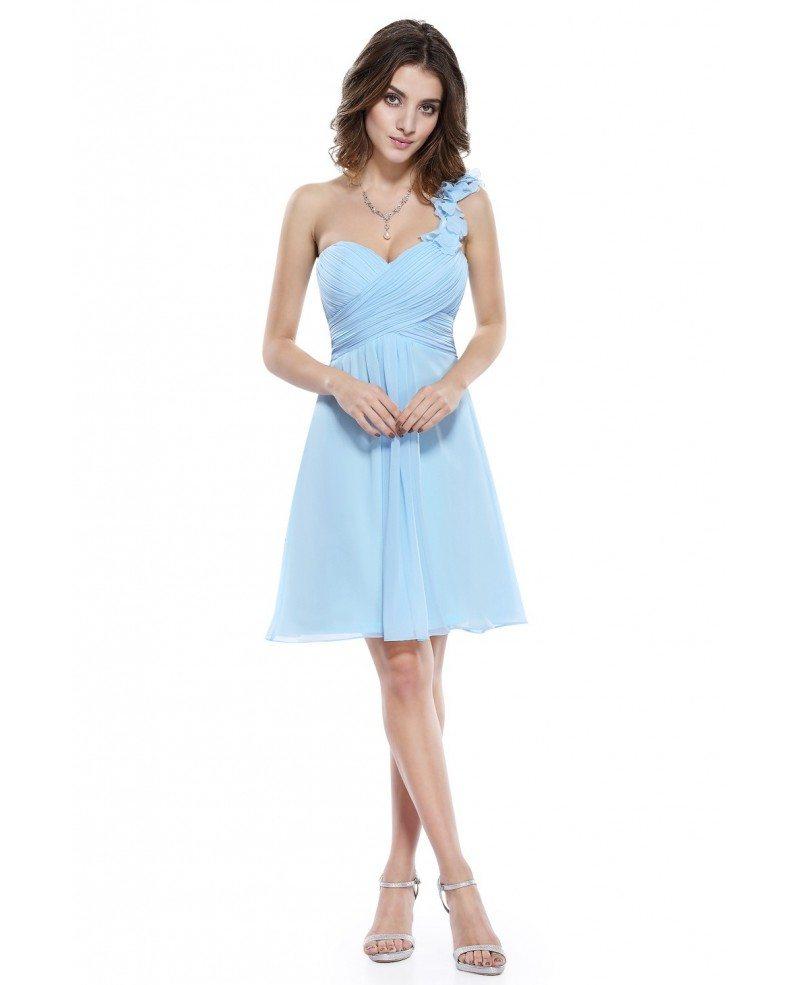 A-line One-shoulder Short Chiffon Pleated Bridesmaid Dress ...
