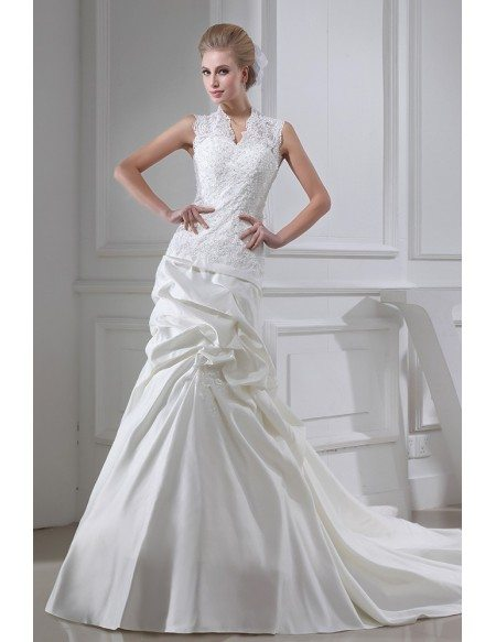 Sleeveless Lace Ruffled Wedding Dress with Buttons Back #OPH1329 ...