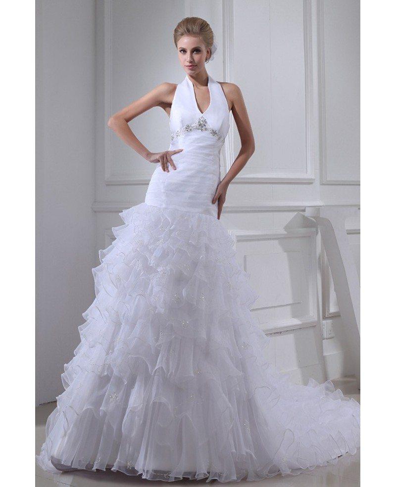 Long Halter Ed Cascading Ruffles Backless Wedding Dress