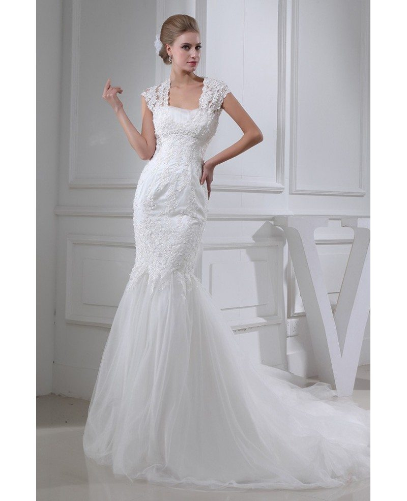 Perfect Fitted Mermaid Lace And Tulle Wedding Dress