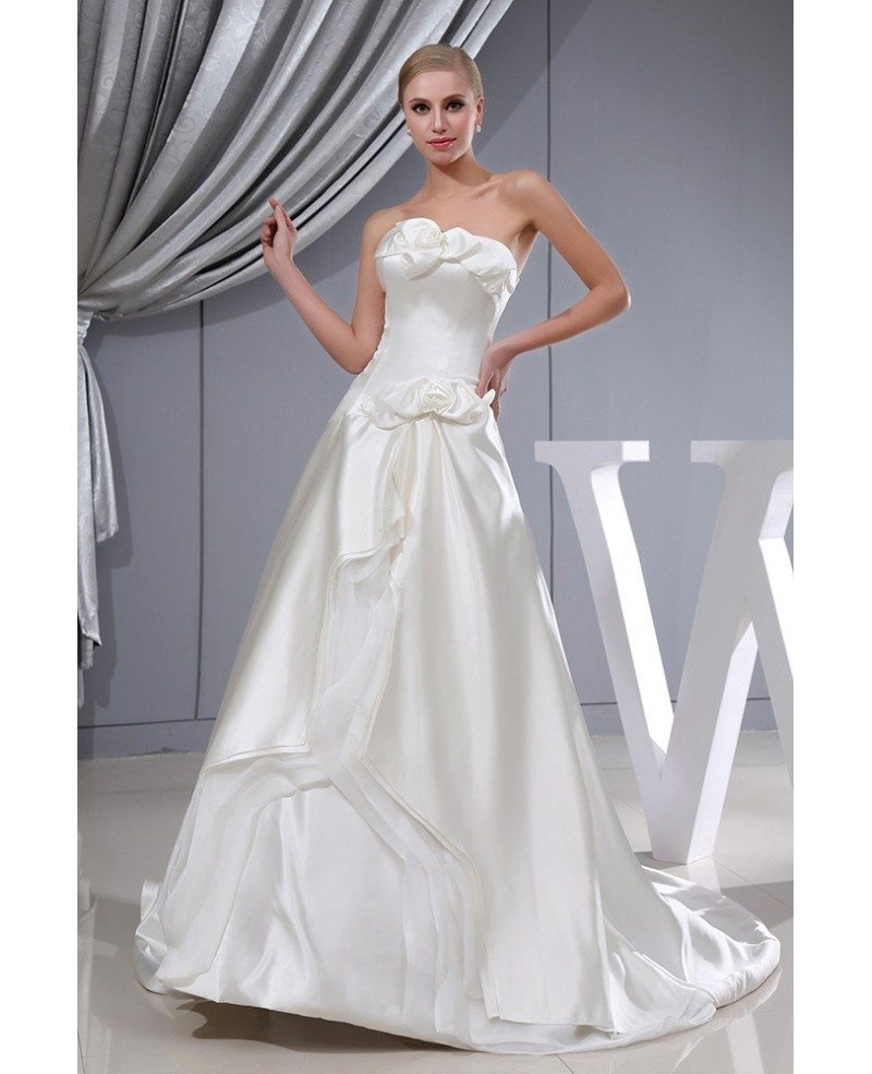 Ivory satin floral corset back wedding dress with train for Ivory satin wedding dress