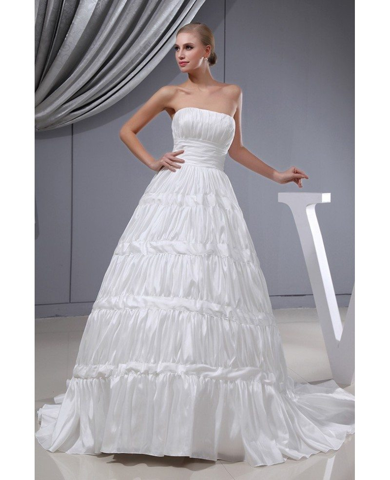 Strapless taffeta pleated custom wedding dress corset back for Strapless taffeta wedding dress