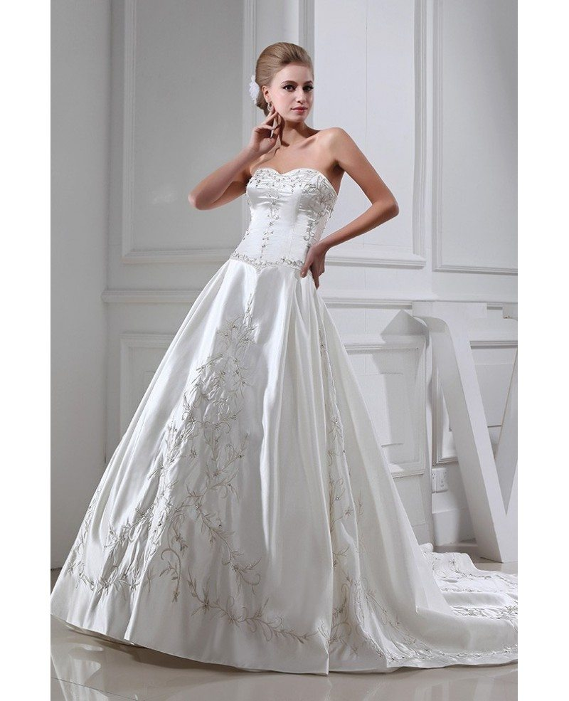 Embroidered Sweetheart Ivory Satin Wedding Gown #OPH1349 $329.9 ...