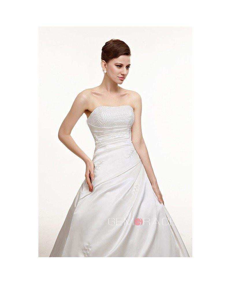 Simple Strapless Beaded Ballgown Wedding Dress #CH0048
