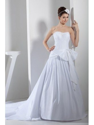 Pure White Fish Bones Corset Long Train Wedding Gown with Bow