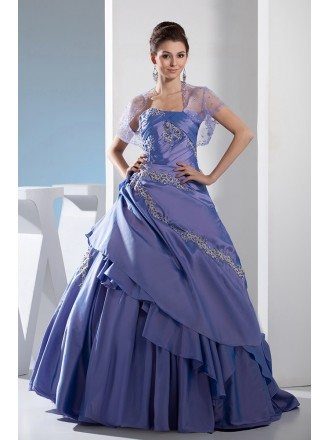 Lavender Taffeta Sequined Lace Color Wedding Dress