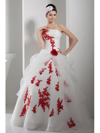 Gorgeous Red and White Lace Organza Wedding Dress Strapless