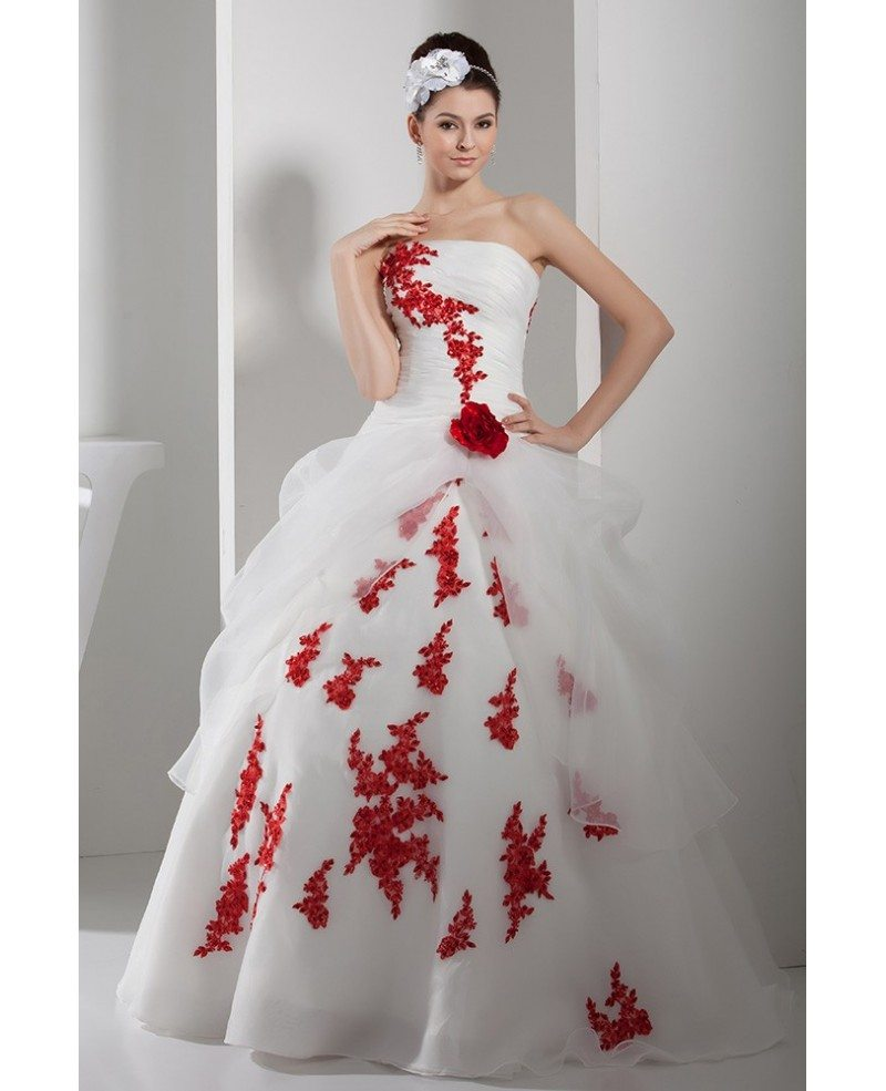 Gorgeous Red and White Lace Organza Wedding Dress Strapless #OPH1359 ...