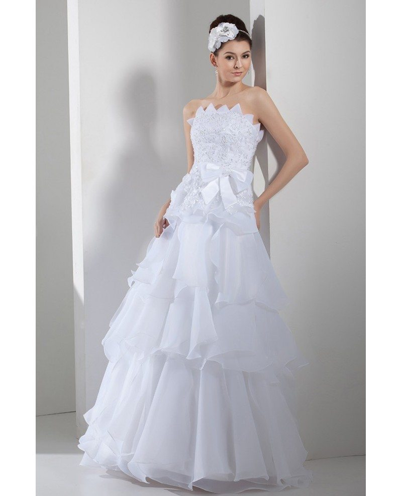 Serrated Neckline White Organza Embroidery Layered Wedding