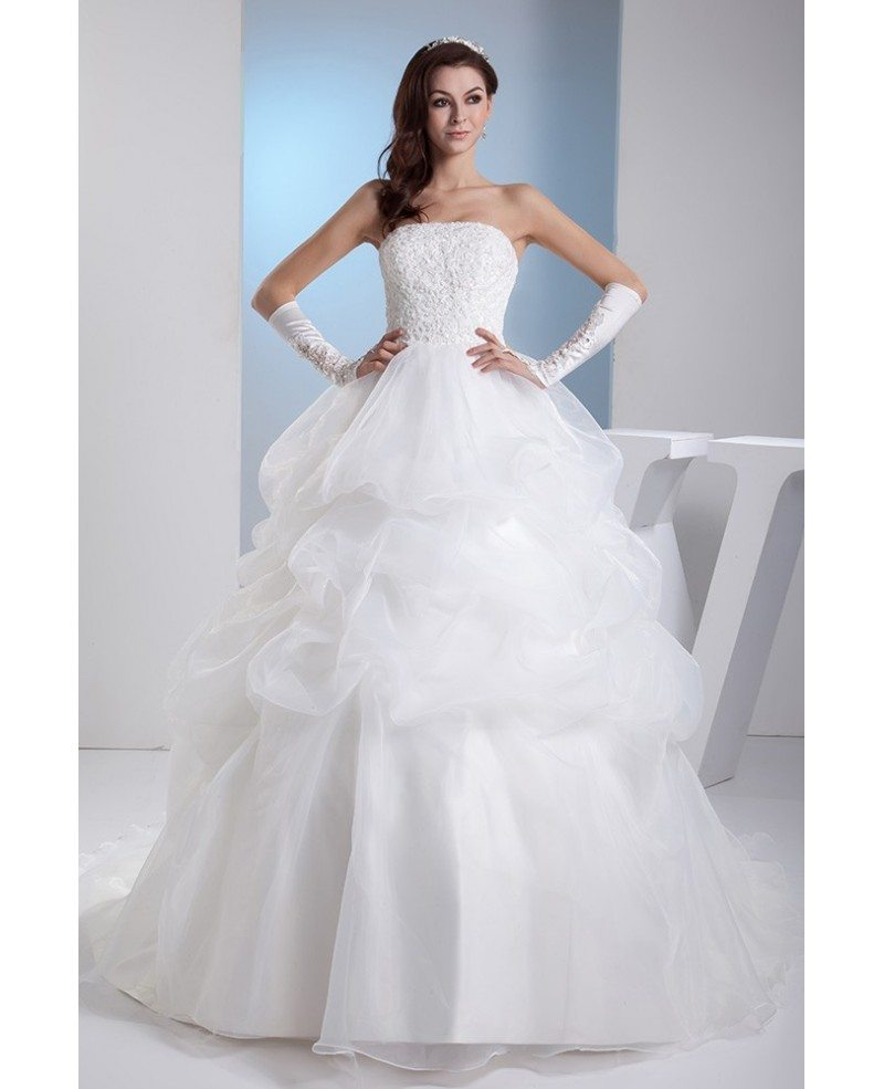 Wedding Gown Bustier: Lace Corset Back Ruffled Wedding Gown Train Length