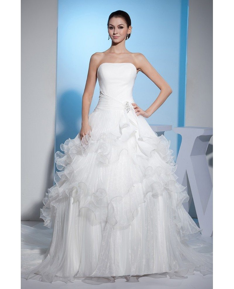 Strapless cascading ruffles long train wedding dress for Cascading ruffles wedding dress