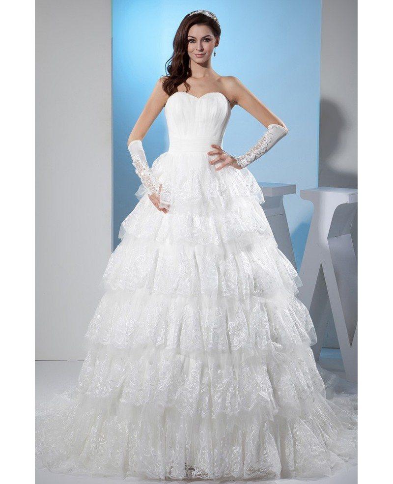 Sweetheart Lace Wedding Dress: Beautiful Sweetheart Lace Tiered Ballgown Wedding Dress