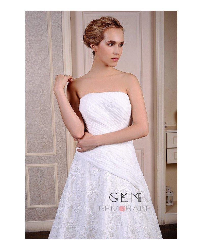 Ball-Gown Strapless Chapel Train Lace Organza Wedding Dress #GM5055 ...