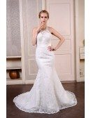Mermaid Halter Court Train Lace Wedding Dress With Beading