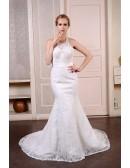 Mermaid Halter Court Train Lace Wedding Dress With Beading