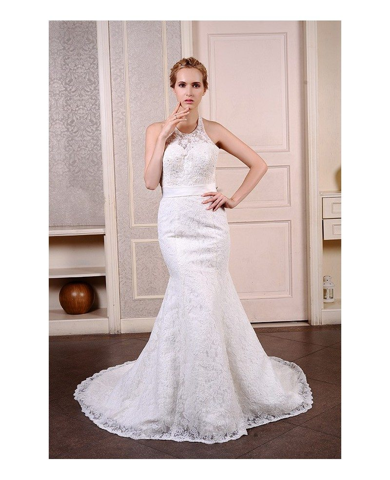 Mermaid halter court train lace wedding dress with beading for Mermaid wedding dress with train