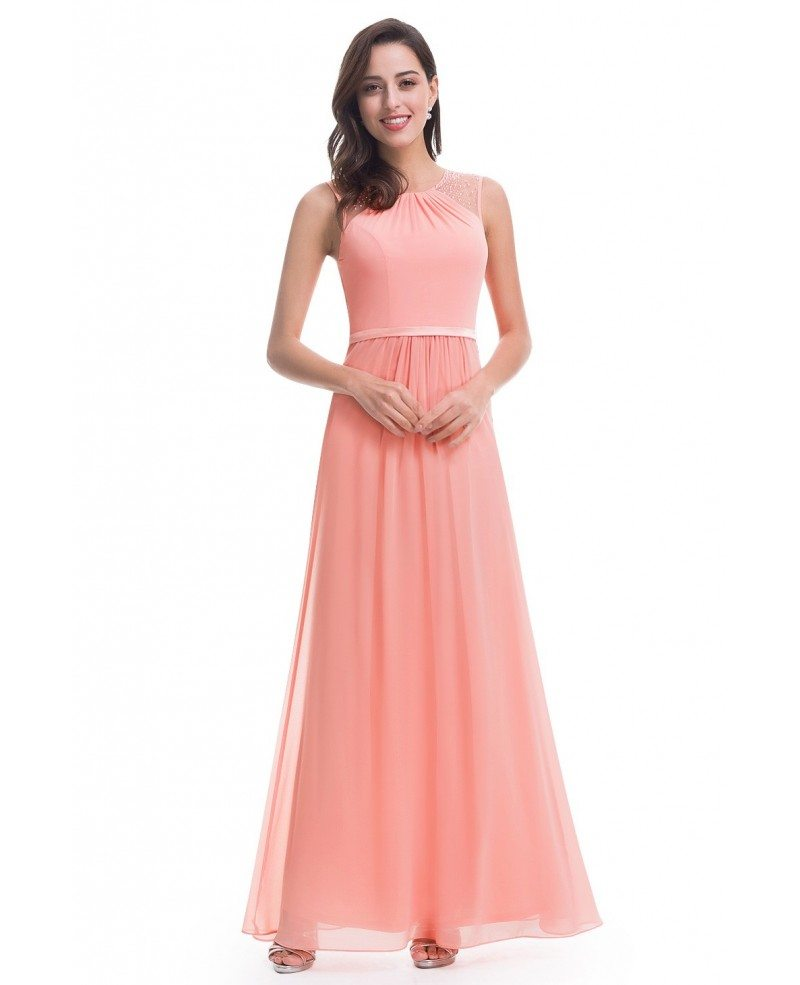 A line scoop neck floor length chiffon evening dress for Floor length dress