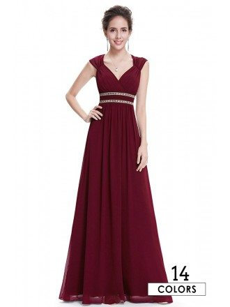 Empire V-neck Floor-length Chiffon Formal Dress With Beading