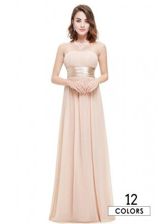 Empire Strapless Chiffon Floor-length Bridesmaid Dress With Ruffles