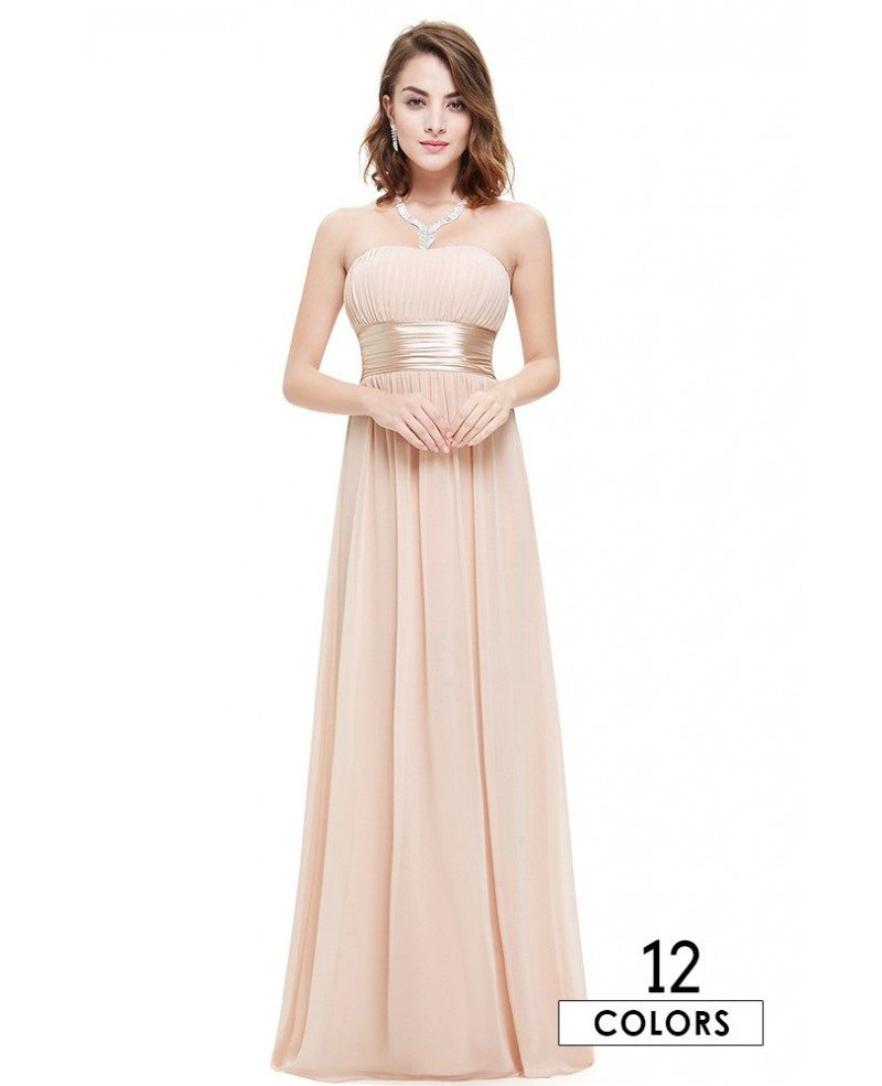 Empire Strapless Chiffon Floor-length Bridesmaid Dress