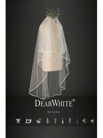 """Edge of Cloud"" Designer Short Bridal Wedding Veil"