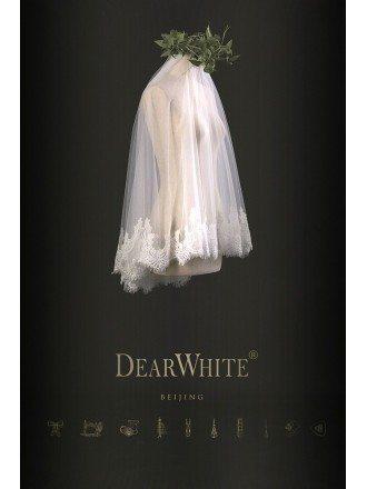 Designer Vintage Lace Short Bridal Wedding Veil