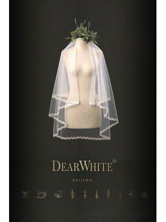 Designer Retro Lace Short Bridal Wedding Veil