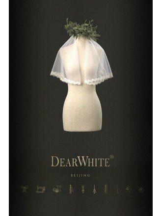Lovely Designer Lace Trim Short Wedding Veil