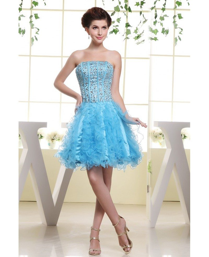 A-line Strapless Short Tulle Prom Dress With Cascading Ruffle ...