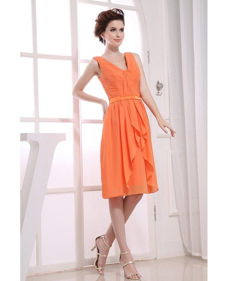 A-line V-neck Knee-length Chiffon Bridesmaid Dress #OP3161