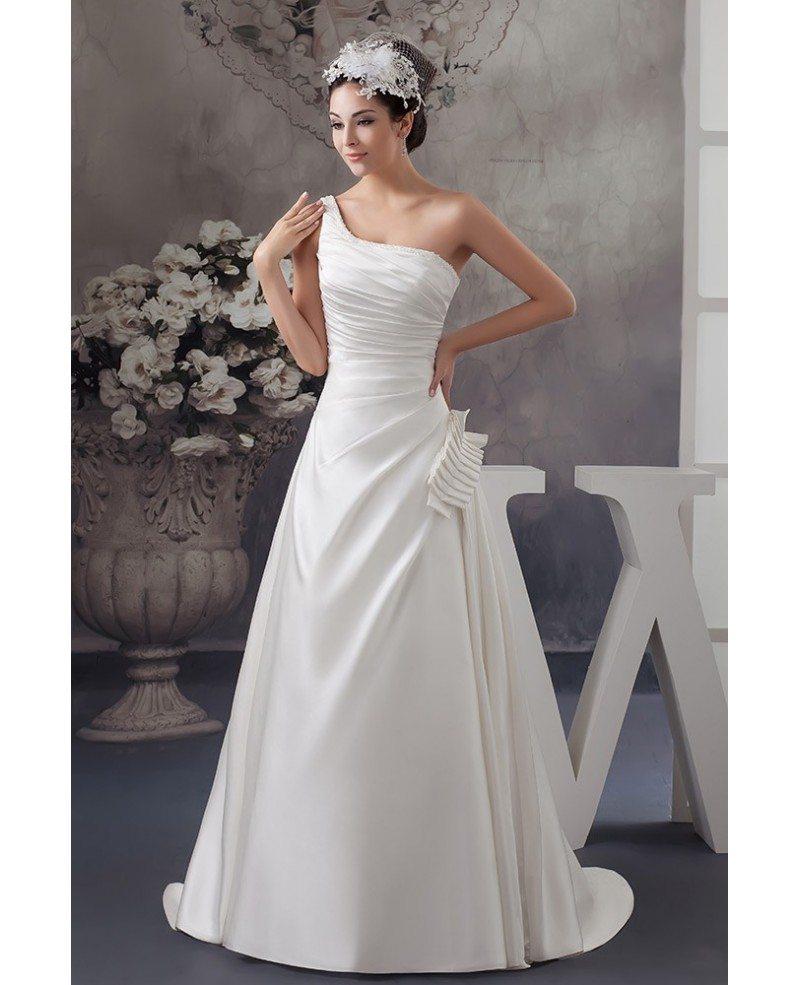 Ball-gown One-shoulder Sweep Train Satin Wedding Dress
