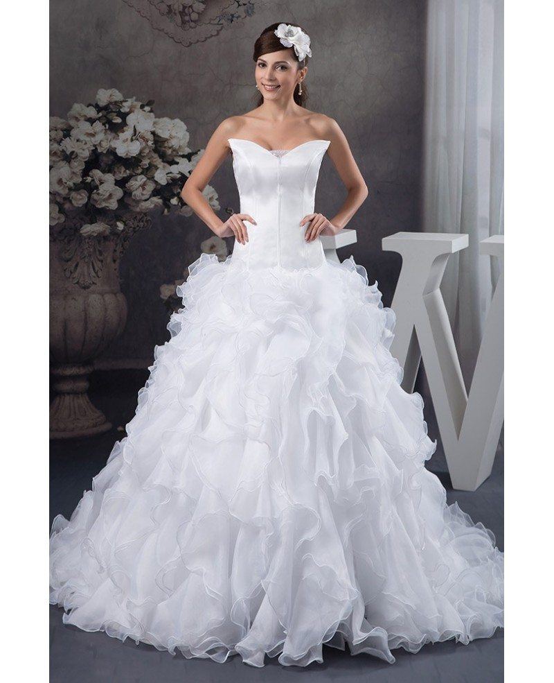 Ruffled Ball Gown Wedding Dress: Ball-gown V-neck Cathedral Train Tulle Wedding Dress With