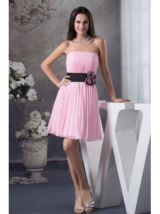 A-line Strapless Short Chiffon Bridesmaid Dress With Flowers