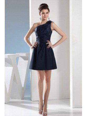 A-line One-shoulder Short Satin Bridesmaid Dress