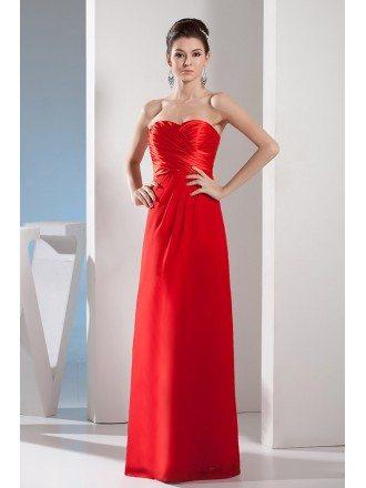 A-line Sweetheart Floor-length Satin Evening Dress