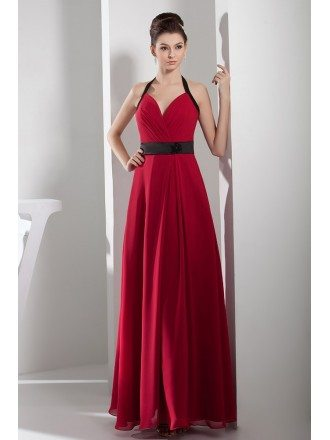 A-line Halter Floor-length Chiffon Bridesmaid Dress
