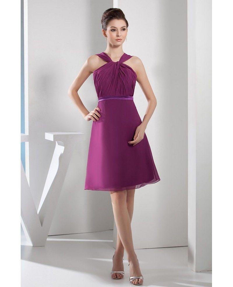 A-line Halter Knee-length Chiffon Bridesmaid Dress #OP4655