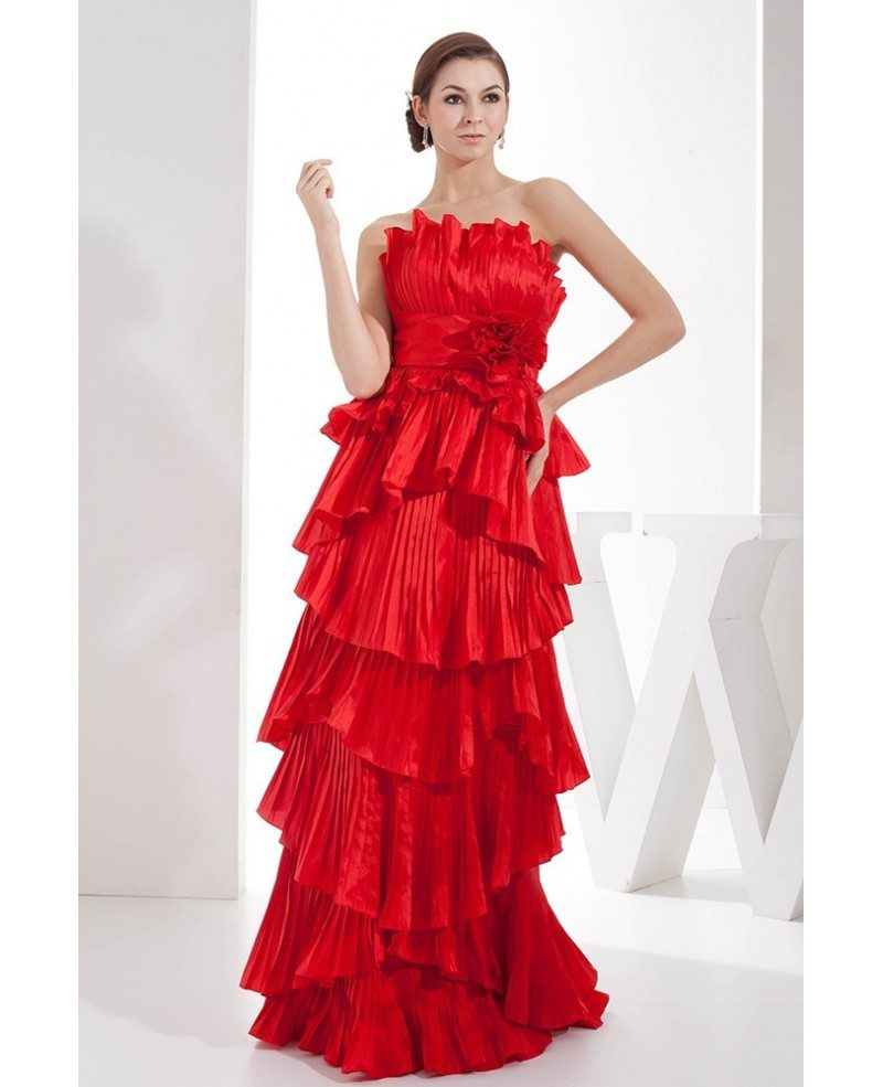 A-line Strapless Floor-length Satin Prom Dress With