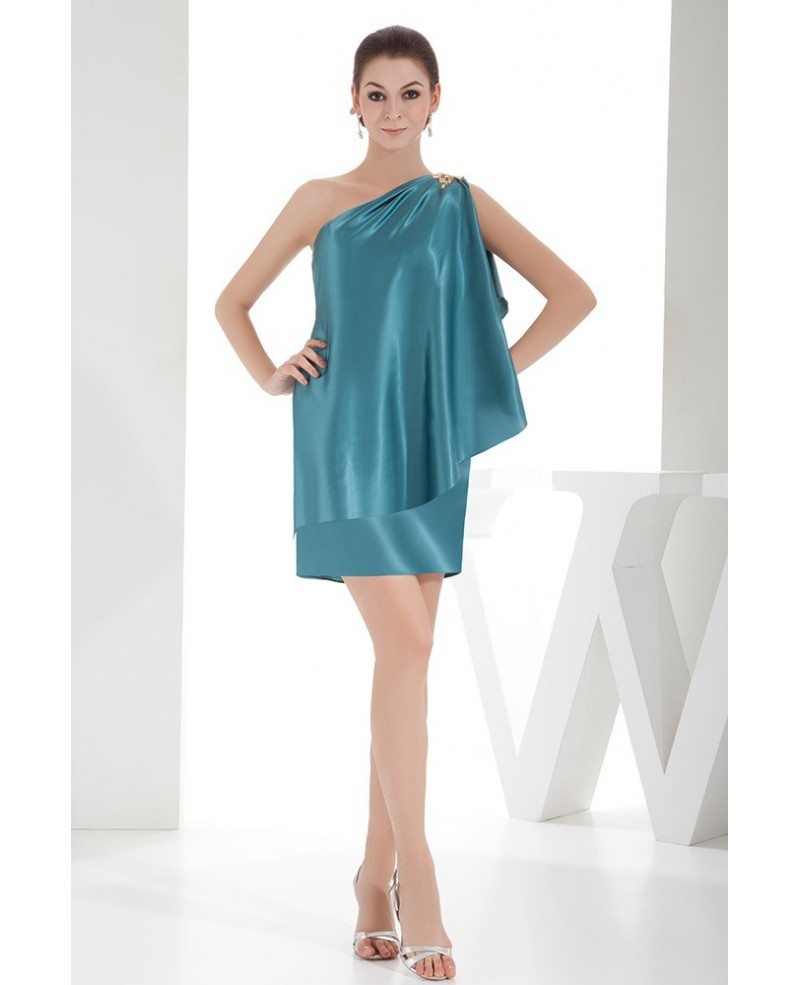 Turquoise Sheath One-shoulder Short Satin Cocktail Dress #OP4710 ...
