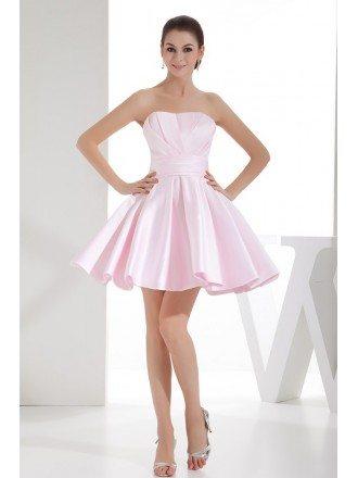 A-line Strapless Short Satin Homecoming Dress