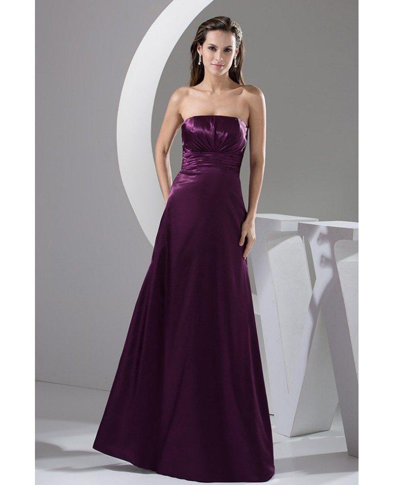 Purple A-line Strapless Floor-length Satin Bridesmaid