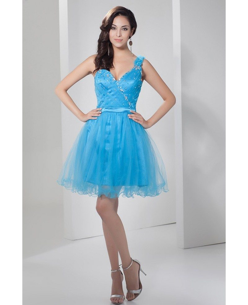 Blue A-line One-shoulder Short Tulle Prom Dress With Beading ...